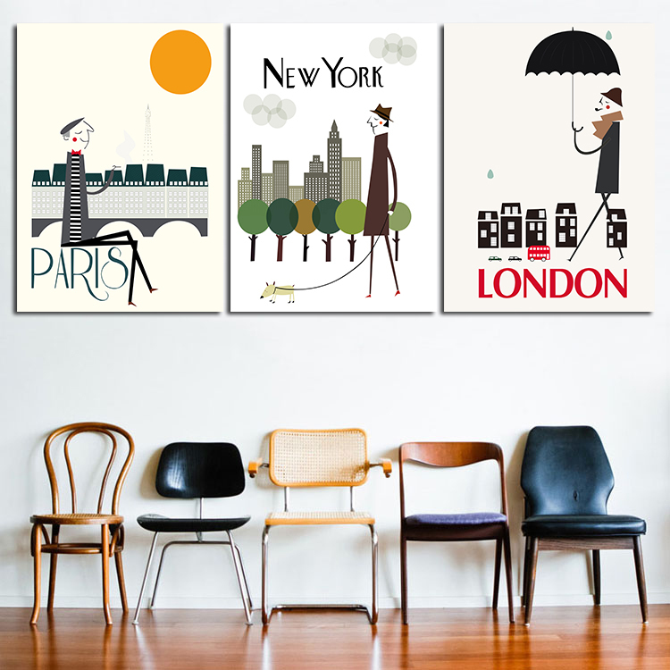 MODERN ABSTRACT HUGE WALL ART OIL PAINTING ON CANVAS PRINT FOR 3 PIECES COMBINATION I LOVE PARIS NEW YORK LONDON CITY NO FRAME(China (Mainland))