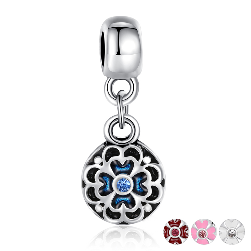 BISAER Silver Plated Round Flower Charm Pendant Beads Bracelet Original Accessories Blue Enamel Beads Jewelry Making(China (Mainland))