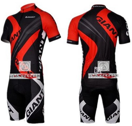 Free shipping! 2012 Black&amp;red GIANT team cycling jersey and shot / short sleeve jerseys+Z123 bike bicycle wear set COOL MAX<br><br>Aliexpress