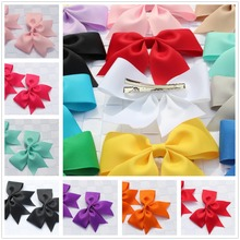 Buy 2pcs boutique solid girls children stain hair clip bows ribbon flower hairband hairpins baby hair barrettes accessories headwear for $1.17 in AliExpress store