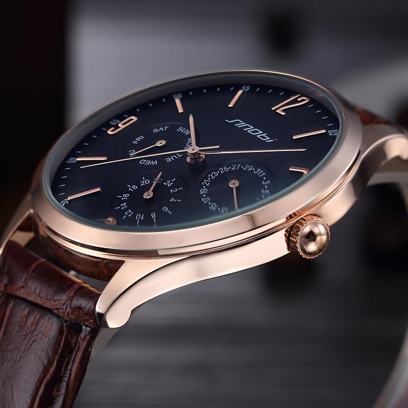 Sinobi Calendar Military Watches Men Fashion Casual Sports Genuine Leather Strap Watch Clock Relogio Masculino Wholesale AB1358