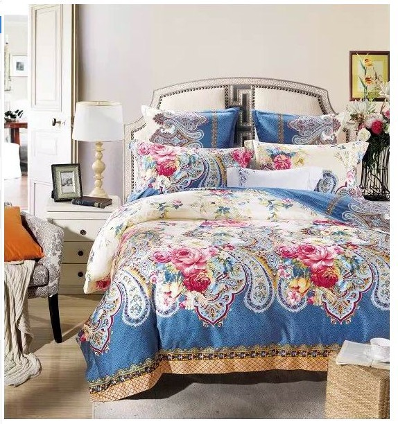 Online kaufen gro handel blue paisley bedding sets aus for Tagesdecke paisley