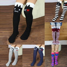 New Cotton Knee High Socks Children In tube Socks Striped knee girls Straight Colorful Stockings