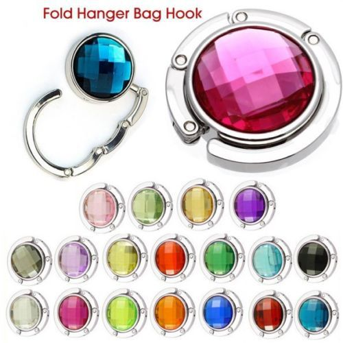 18 Colors Crystal Alloy Purse Bag Handbag Hanger Folding Colorful Portable Hook Holder Hot(China (Mainland))
