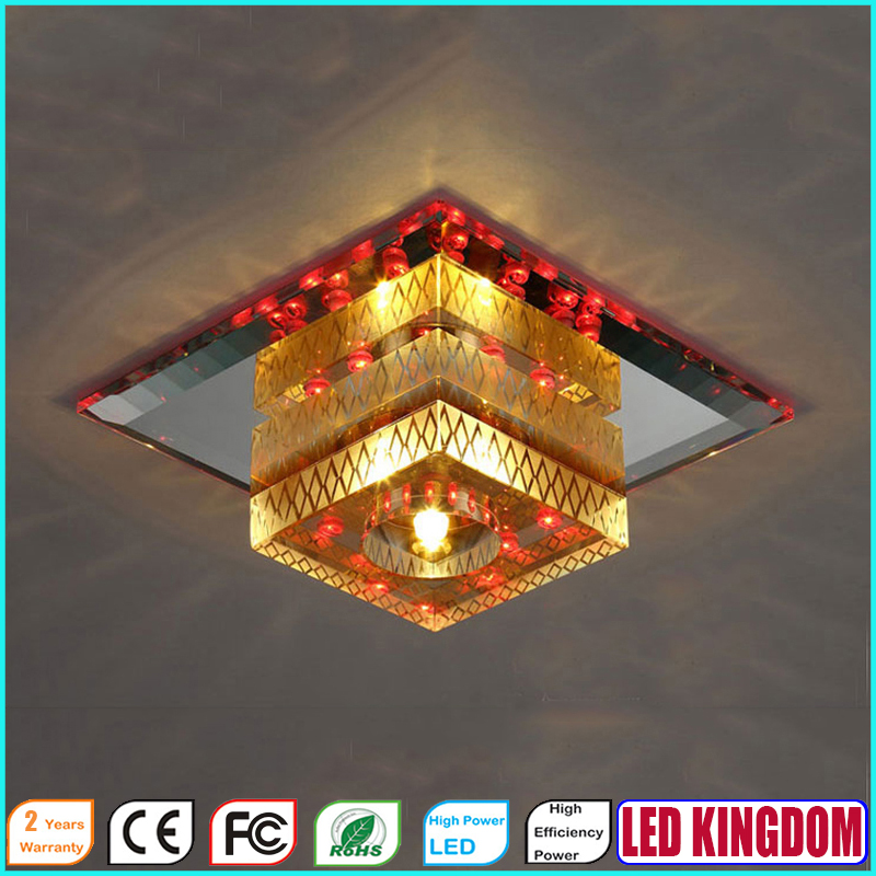NEW AC110-240V LED Crystal Ceiling Lamp of Bedroom Ceiling Lights, Modern Ceiling Lights Corridor,D:18cm H:10/8cm(Embeded)(China (Mainland))