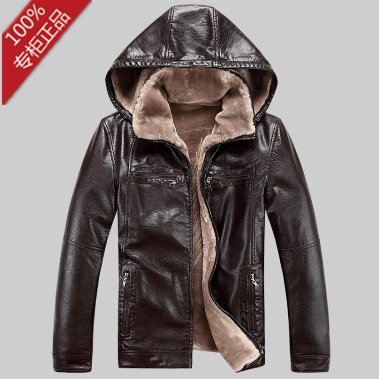 Hot!!2013 brand men's leather jackets hooded coat motorcycle men fur winter jacket ems - International outdoor shop store