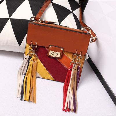 Фотография New arrival genuine leather  panelled color small tassel shoulder bag message phone bag