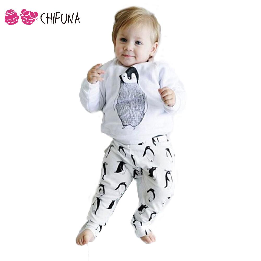 2016 Spring Baby Clothes Boy Girl Sets Cartoon Penguin T-shirt + Cotton Pants Home Suit Baby Sets Kids Clothes 2 Pcs Sets(China (Mainland))