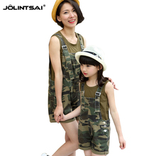 Summer Rompers Womens Jumpsuit 2016 Camouflage Matching Mother And Daughter Clothes Tracksuit For Girls Overalls For Women Suit