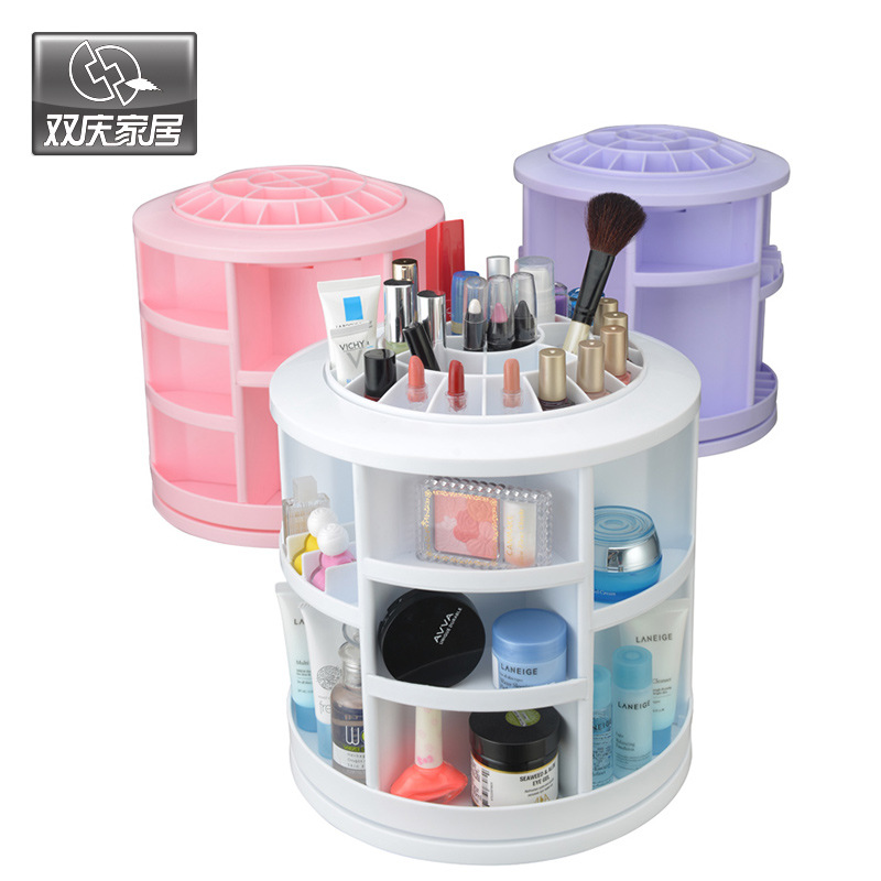 2016 Limited Plastic Cosmetic Storage Box 360 Degree Rotation Makeup Organizer Boxes Cosmetics Receive A Case Bins(China (Mainland))