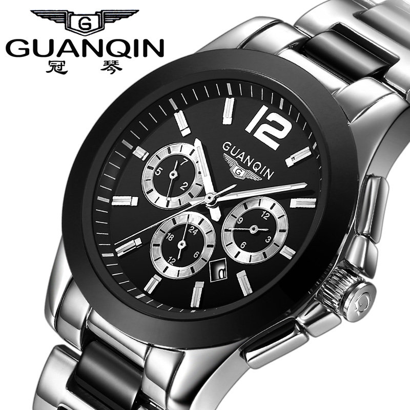 Фотография GUANQIN Sport watches 6 Hands Date Day 24 Hours Display waterproof Stainless Steel Case Black Wrist Men