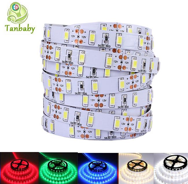 Tanbaby LED strip 5630 DC12V 5730 led rope 5M 300leds not waterproof 5M/roll flexible led bar light indoor decoration(China (Mainland))