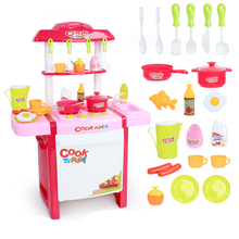 New Arrival Kids simulation kitchen toys Children play toys baby kitchen toys set with light & sound pink and red baby gifts(China (Mainland))