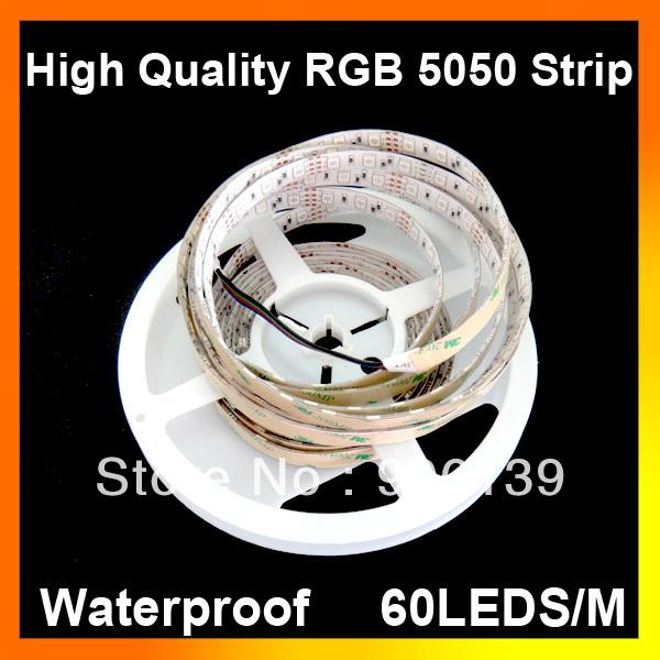 100M/lot High quality RGB 5050 Waterproof 60LEDS/M flexible 300 LED strip light Wholesale(China (Mainland))