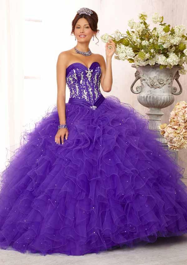 Puffy Бальное платье Сладкие 16 Платья Милая Тюль Фиолетовый Quinceanera Платья Vestidos Пункт Quinceaneras 2015 Цвет Фиолетовый