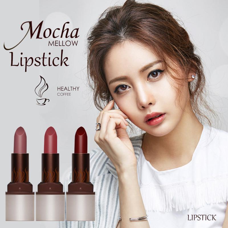 Korea Cosmetics Mocha mellow health lipstick long-lasting Waterproof matte lipstick lip gloss red lip makeup purple lipstick(China (Mainland))