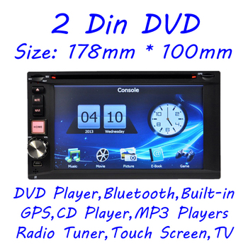 Two Din 2 Din Car DVD player GPS bluetooth radio ipod USB SD analog TV 6.2inch Free 8GB Maps Auto Multimedia Audio Video EMS DHL