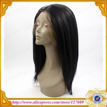 Free Shipping eye-catching top quality synthetic lace front wig heat resistant black yaki straight synthetic lace front wig(China (Mainland))