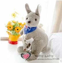 Free shipping 35cm soft scarf Australia kangaroo with baby roo toys plush toy children girls boys kids baby shower birthday gift