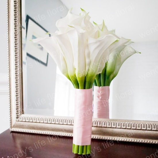 Simple Lily Bridal Bouquet : Real touch white calla lilies wedding bouquet bridal