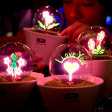 Romantic Fireworks Night Light Flower LED Lamp Artificial Grass Potted Plants kids Night Lighting Best Gift lover star master(China (Mainland))