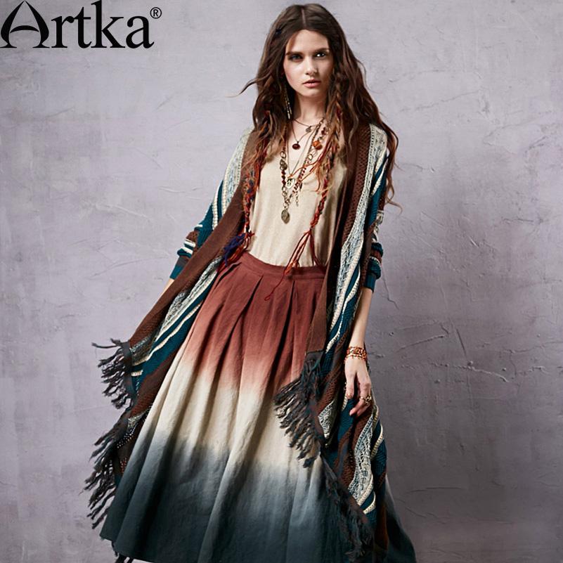 Artka Women's Color Patchwork Ethnic Skirts Zipper Design Original Cotton & Linen Material Modern Casual Skirt QX14157C - store