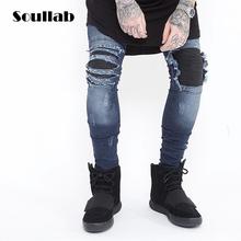White black blue elastic stretch mens bottoms casual denim ripped destroyed biker jeans slim fit skinny hip hop swag skateboard(China (Mainland))