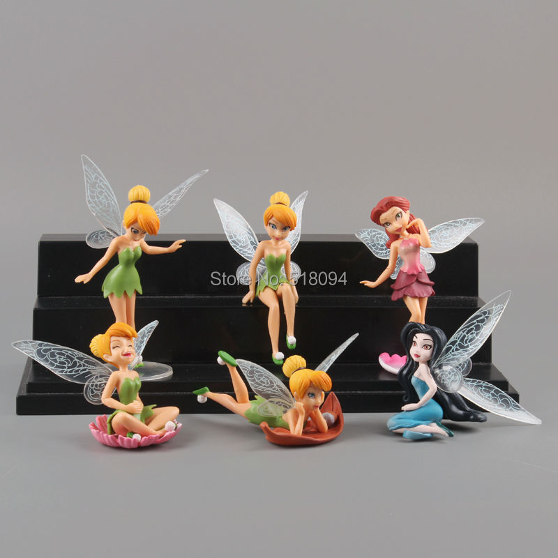 Free Shipping Anime Cartoon Tinkerbell Fairy PVC Action Figure Toys Girls Dolls Gift 6pcs/set DSFG127(China (Mainland))
