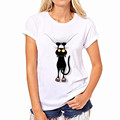Harajuku Cat T Shirt Women 2016 Blusa Summer Fashion Cotton Printing Originality O Neck Short Sleeve
