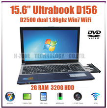 15.6″ Laptop Ultrabook  Intel Atom D2500 Dual-core 1.86Ghz 2G RAM&320G HDD Win7 OS DVD-RW 1080P HDMI WIFI Bluetooth1.3M Webcam