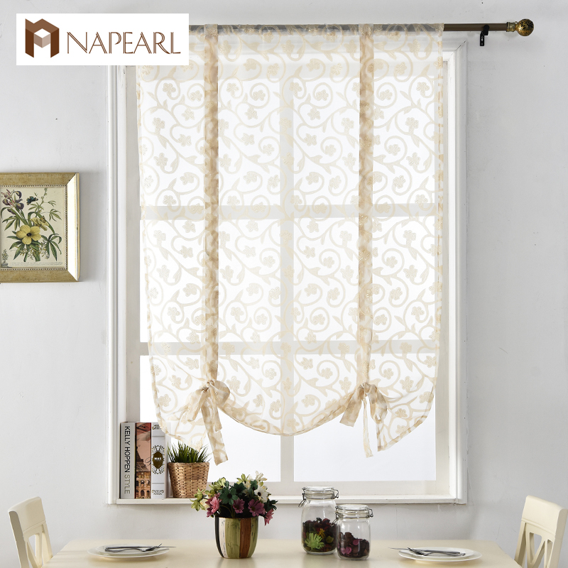 Kitchen curtains short roman curtains butterfly white tulle fabrics sheer panel door curtains window treatments voile jacquard(China (Mainland))