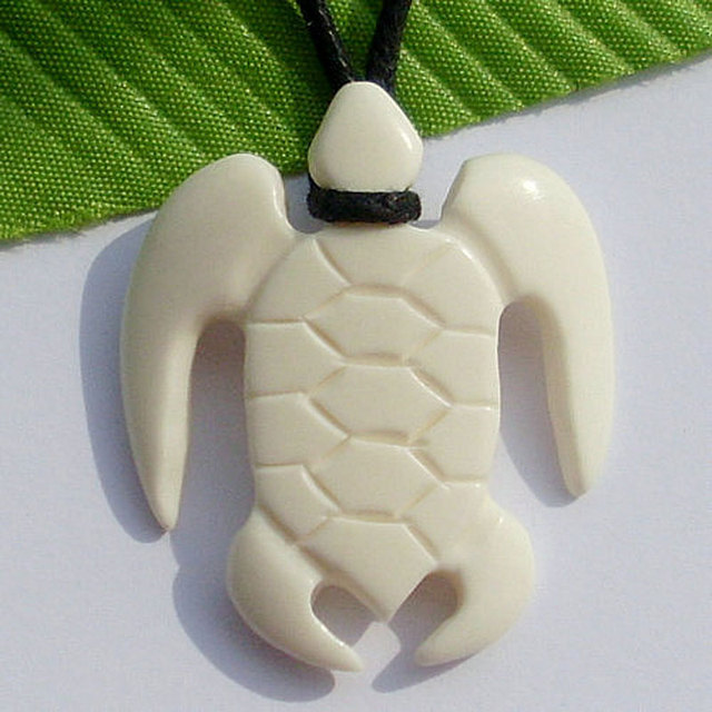Hawaii Tribal Surfer Style Jewelry Handmade Carved Ox Bone SEA TURTLE Pendant Women's Men's Necklace Choker Free Shipping