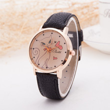 Cute Cat Pattern Cartoon Women Watches High Grade Leather Quartz Watch Simple Gold Dial Brand Wristwatch Reloj Mujer 2015 Clock