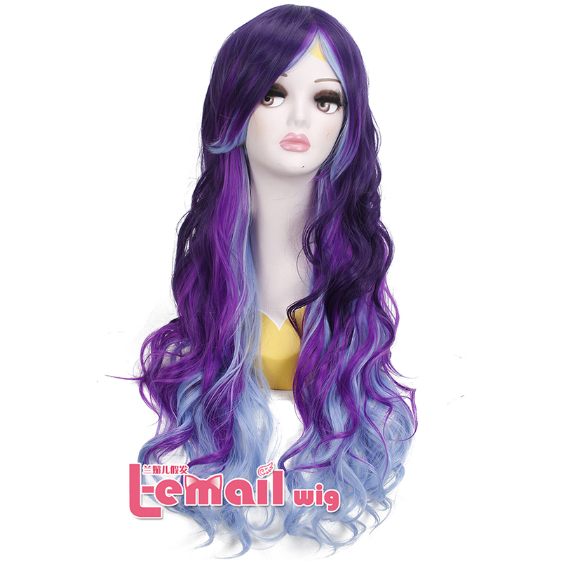 75cm Long Wave Synthetic Anime Cosplay Wig Purple Fade Light Blue Zopper Cosplay Wig  <br><br>Aliexpress