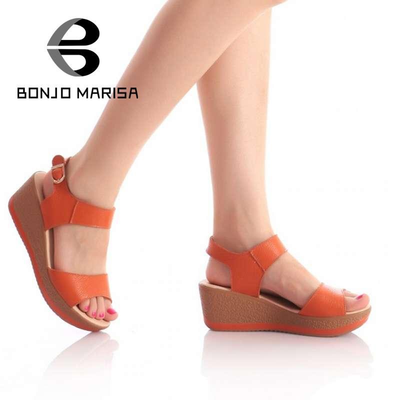 Гаджет  Fashion Genuine Leather Sandals 2014 Brand New Low Wedges Summer Shoes Gladiator Ankle Straps Open Toe Platform Sandals JDM470 None Обувь