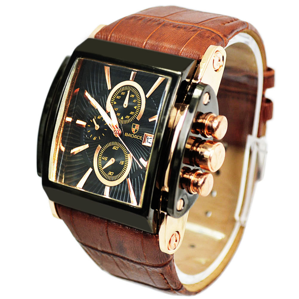 2014 New Brand Quartz Military Wrist Men Watch Date Display Square Dial Genuine Leather Strap Quality Luxury - Fashion & Jewelry (Min order is 10USD store Store)