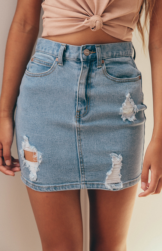 Afends   Beat Chevy Denim Skirt ? Stone Blue   Back In Stock   Peppermayo