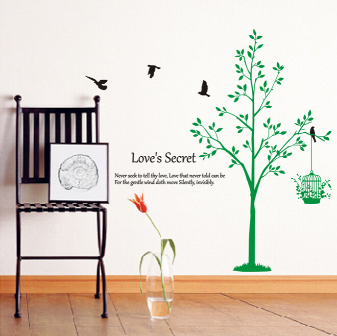 Bed/Living Room Lovely Tree Kid Room Stickers 3D PVC 2015 New Wall Stickers Home Decor Accessory Free Shipping Stickers for Wall(China (Mainland))