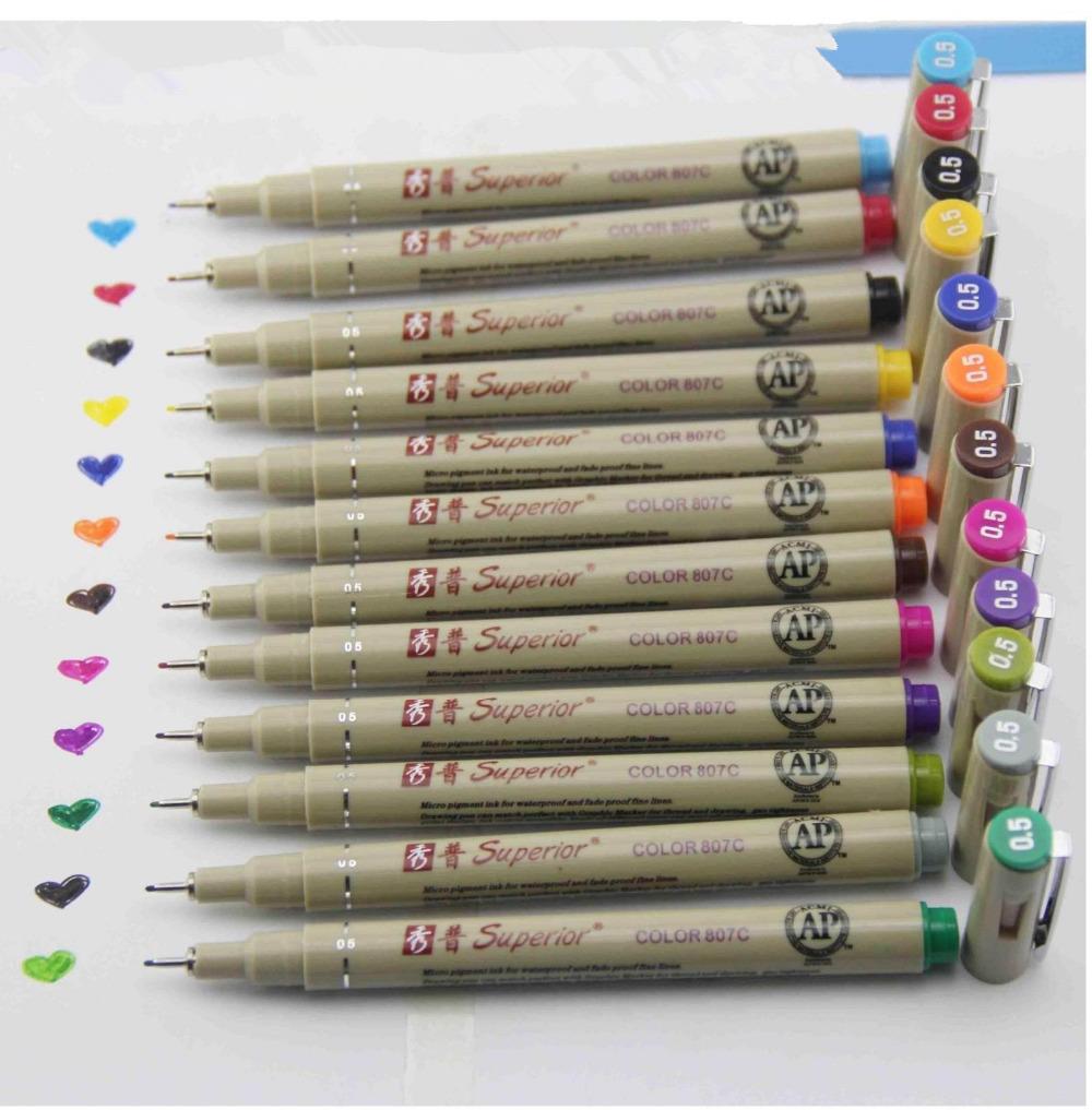 Superior 12 colors sketch micron pen 0.5mm fineliner