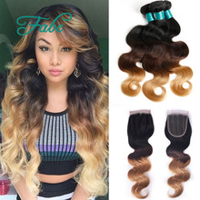 Buy ombre Blonde Weave Bundles Brazilian Ombre Human Hair 1B 4 27 Body Wave Cheap Ombre Brazilian Hair Body Wave with closure for $127.33 in AliExpress store