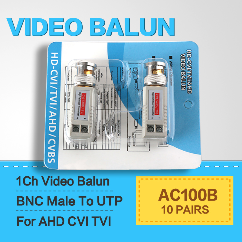 10Pairs Enhanced Twisted BNC CCTV Video Balun passive Transceivers UTP Balun BNC Cat5 support Distance 200m HDCVI/AHD DVR Camera(China (Mainland))