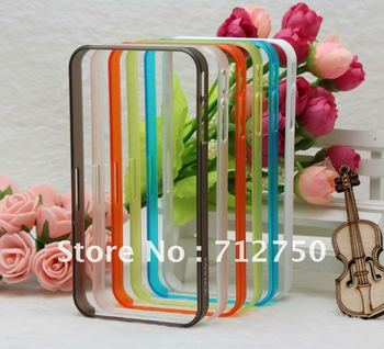 Free Shipping by DHL For iPhone 4G 4S Cell Phone Bumper Case,Frosted Transparent Bumper Case For iPhone 4S 4G