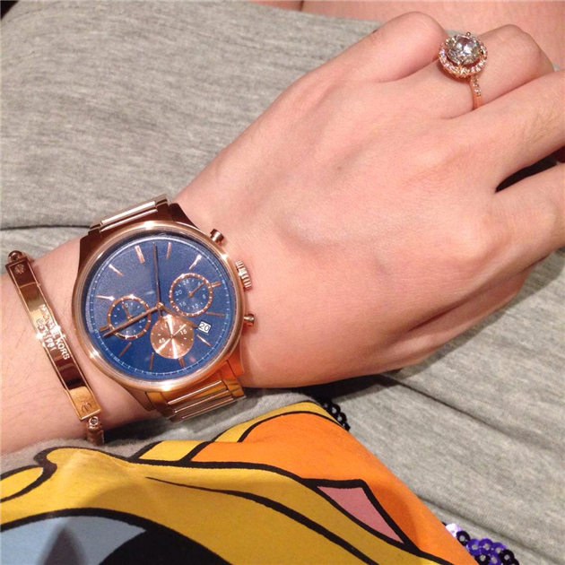 New Middle Size Bailey Chronograph Blue Dial MK5911 Rose gold Stainless stell(China (Mainland))