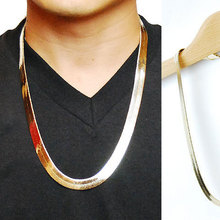 New 2015 18K Gold/Silver Plated Boutique cool Flat Snake/Dragon Bone Retro Hip Hop Herringbone Chain Necklace Women Men Jewelry(China (Mainland))
