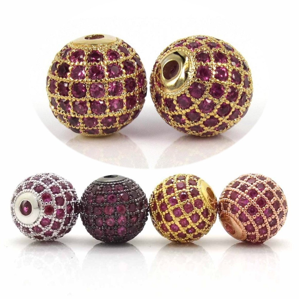 ,10mm Shamballa Round Metal Beads Mirco Pave Fuchsia AAA Zircon Bead,DIY Bracelets Jewelry Findings - Charms Silver Factory store