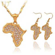 U7 Africa Map Pendant Necklace Earrings Jewelry Wholesale New Trendy 18K Real Gold Plated Rhinestone African Jewelry Sets S379(China (Mainland))