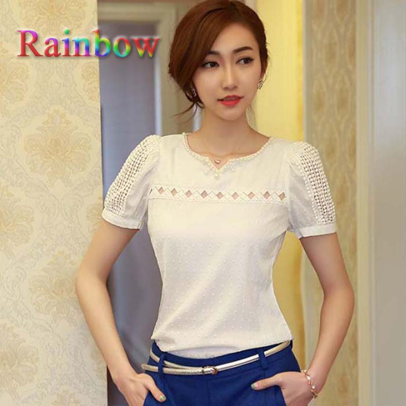 Superb! 2015 New 1PC Lady Women Lace Short Sleeve Shirt V Neck Doll Chiffon Plus Size Blouse Tops(China (Mainland))