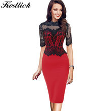Buy Kostlish New Summer Dress Women Sexy Lace Patchwork Half Sleeve Pencil Dress Slim Elegant 2017 Club Party Dresses Plus Size 5XL for $15.05 in AliExpress store