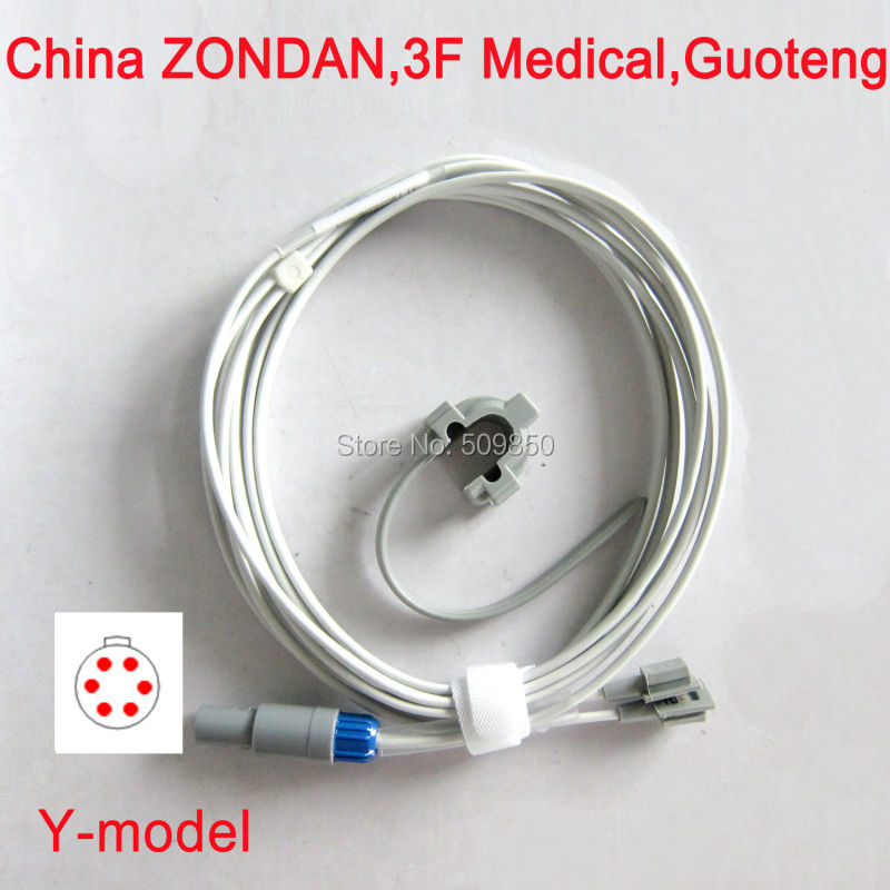 Compatible China ZONDAN 3F Medical Guoteng lemo 6pin connector reusable spo2 multi site y model spo2 sensor pulse probe(China (Mainland))
