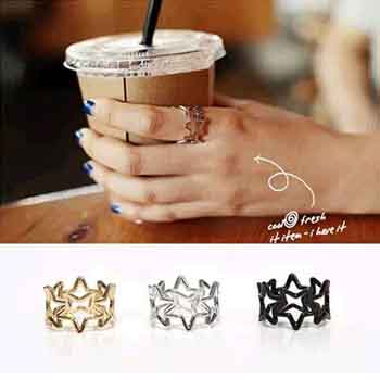 HOT 3 Color Style Trendy Zinc Alloy Hollow Out Stars Ring For Women HOT SALE Fashion Jewelry(China (Mainland))